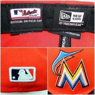 New Era 59fifty MLB Miami Marlins M Florida Orange Road Fitted Hat Cap