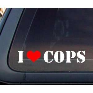 I Love COPS w/ Red Heart Car Decal / Sticker   White & Red