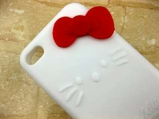 White Hello Kitty Silicone Back Case Cover red Bowknots for iPhone 4