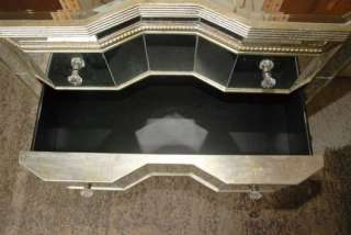 Art Deco Mirrored Serpentine Chest Drawers Commode