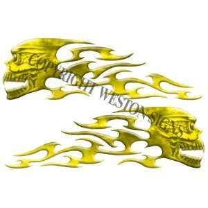 Yellow Motorcycle Gas Tank Tribal Skull Flames Automotive