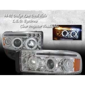 Dodge Ram Headlights Chrome Dual Halo LED Headlights 1994