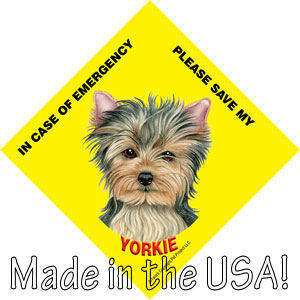 Save My YORKIE Yorkshire Terrier Dog Emergency Sign