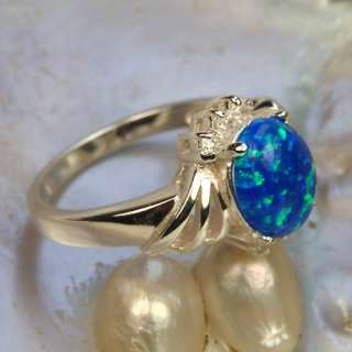 Charming Blue Opal Gems Jewelry Ring Silver Size #8 L02