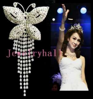 Wedding/Bridal crystal rhinestone butterfly brooch new