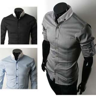 Mens Casual Slim Fit Stylish Dress Shirts 3Colours 6051