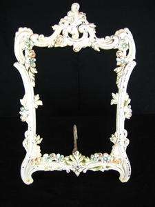 Antique Art Nouveau Cast Iron White Easel Picture/Photo/Mirror Frame
