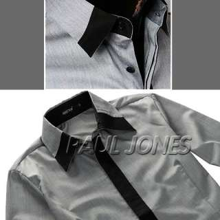 Mens Casual Slim Fit Stylish Korean Style Dress Shirts XS S M L