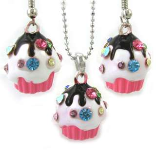 Cute Party Chocolate Pink Cup Cake Necklace Earring Set