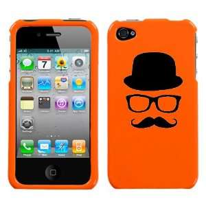 black silhouette of hat glasses mustache design on orange