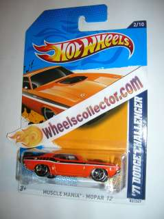 71 dodge Challenger Orange * 2012 Hot Wheels * K Case Mopar 2/10