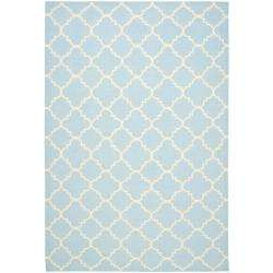 Moroccan Light Blue/ Ivory Dhurrie Wool Rug (8 x 10)