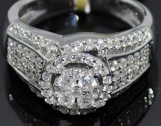 1CT DIAMOND ENGAGEMENT WEDDING RING 10K WHITE GOLD ROUND HALO DESING