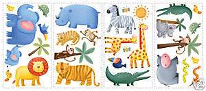 JUNGLE ANIMALS 29 BiG Wall STICKERS Kids Zoo Decal Baby