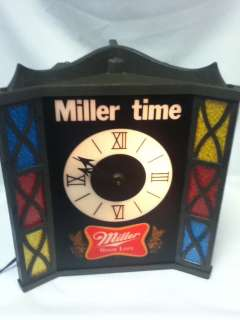 MILLER BEER SIGN LIGHTED CLOCK STAINED GLASS LOOK VINTAGE BACK BAR