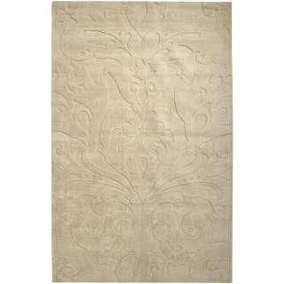 Olson Hand woven Carved Beige Wool Rug (8 x 11)
