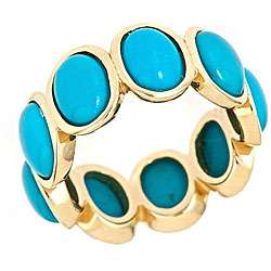 Yach 14k Yellow Gold Turquoise Ring