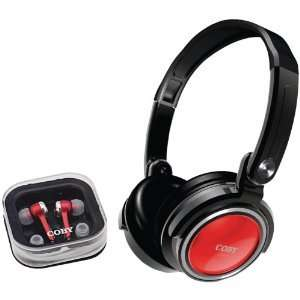Coby CV215 Compact Combo Deep Bass Folding Headphones RED