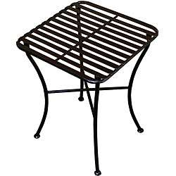 Outdoor Square Black Iron Folding Side Table