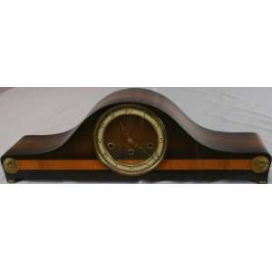 Vintage German Art Deco Mantle Clock FHS Mahogany