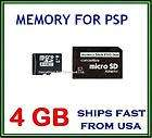 MEMORY STICK PRO DUO ADAPTER & 4GB MICRO SD CARD FOR Sony PSP