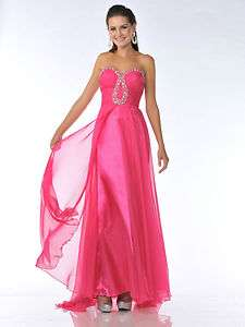 LONG PROM GOWN SWEETHEART BEADED NECKLINE WINTER FORMAL DANCE FUCHSIA