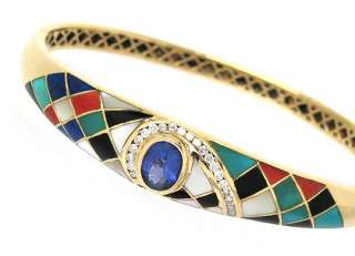 STUNNING 14K YELLOW GOLD, TANZANITE, DIAMONDS & MOSAIC GEMS BANGLE