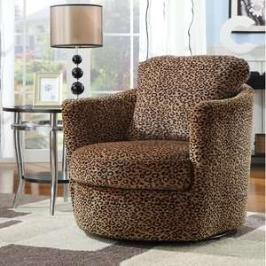 Wildon Home San Augustine Leopard Print Swivel Chair Furniture