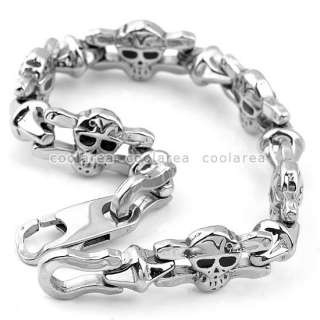 Mens Stainless Steel Evil Skull Link Chain Bracelet 9L 316L Fashion