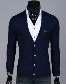 Mens Casual Stylish Slim Fit Cardigan Long Sleeve CD7477