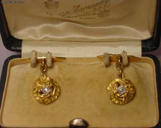 Beautiful Antique Art Nouveau Diamond 18k Cufflinks 12G