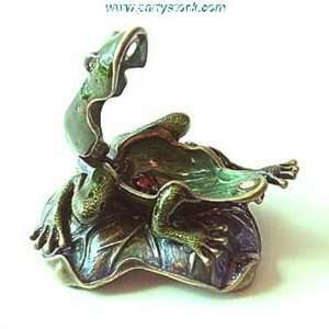 Frog Lily Pad Box Swarovski Crystals 24K Gold Jewelry, Trinket or Pill