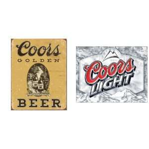 Coors Beer Tin Metal Sign Bundle   2 retro signs Coors Golden Beer