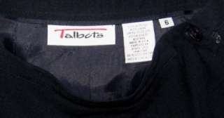 Talbots A Line Skirt Navy Blue Black 100% Wool Womens Size 6 M