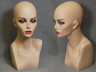 Mannequin Head Bust Vintage Jewelry Wig Hat Earrings Necklace Display