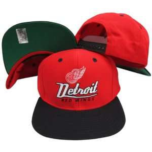 Detroit Red Wings Red/Black Two Tone Snapback Adjustable Plastic Snap