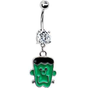 Festive Frankenstein Monster Double Gem Belly Ring