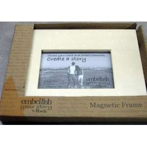 Embellish Your Story 14296 Cream with White Dots Magnetic Frame 4 X 6