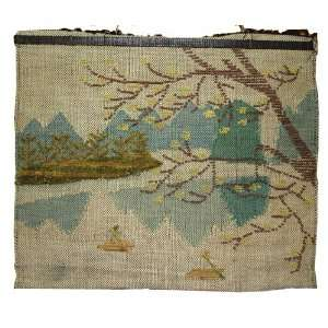 Hand Made Rafting Picture   Natural Jute Weave Wall Hanging Folk Art