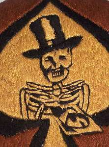 Corp Military Top Hat Skeleton Ace Spades Bomber Nose Art Patch