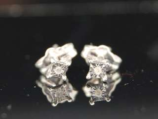 MENS WHITE GOLD FINISH FANOOK DIAMOND EARRINGS STUDS