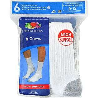 Socks   6 Pair  Fruit of the Loom Clothing Mens Underwear & Socks