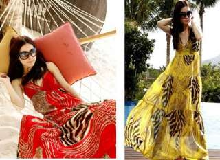 Women Chic BOHO Exotic Leopard Prints Chiffon Maxi Summer Long Dress 3