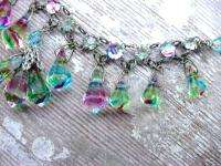 Vintage Art Deco Iris Rainbow Glass Necklace