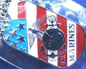 USMC MARINES CORPS SEAL INSIGNIA FLAG DOG TAG PENDANT