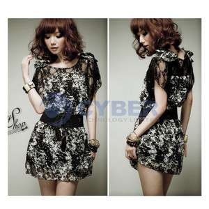 New Womens Korea Sexy Lace Chiffon Mini Dress With Belt
