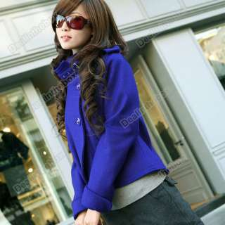 Korea Women Lady Fashion Single Breasted Turtleneck Wool Jacket Coat