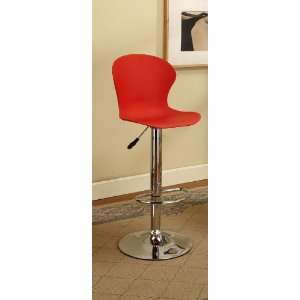 Red & Chrome Finish Air Lift Adjustable Modern Bar Stool