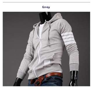 Mens Casual Baseball Slim Fit Zip Up Hooded Hoodies Jacket Top M,L,XL
