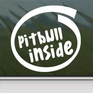 Pitbull Inside White Sticker Car Laptop Vinyl Window White